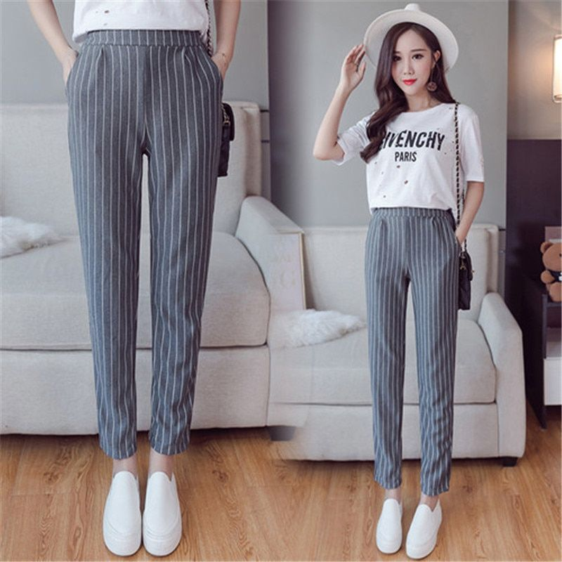 <font><b>Vertical</b></font> Striped Harem Pants Trousers 2018 New Spring Summer Loose Casual Elastic Waist Pants Ankle-Length Pants Dropshipping