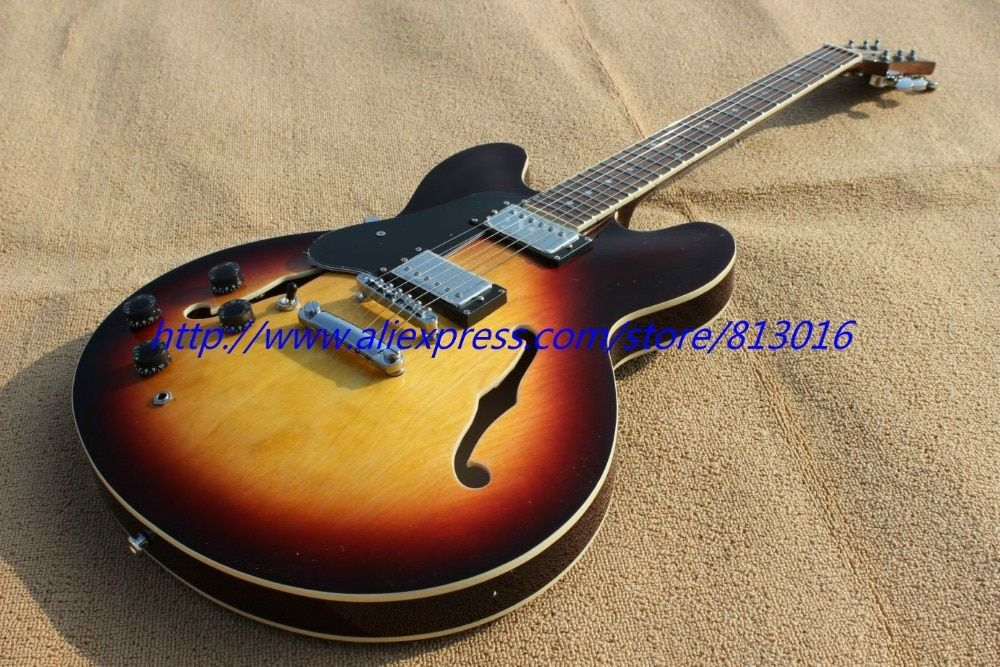 Hollow body Jazz electric guitar left hand tobacco burst,chrome parts!