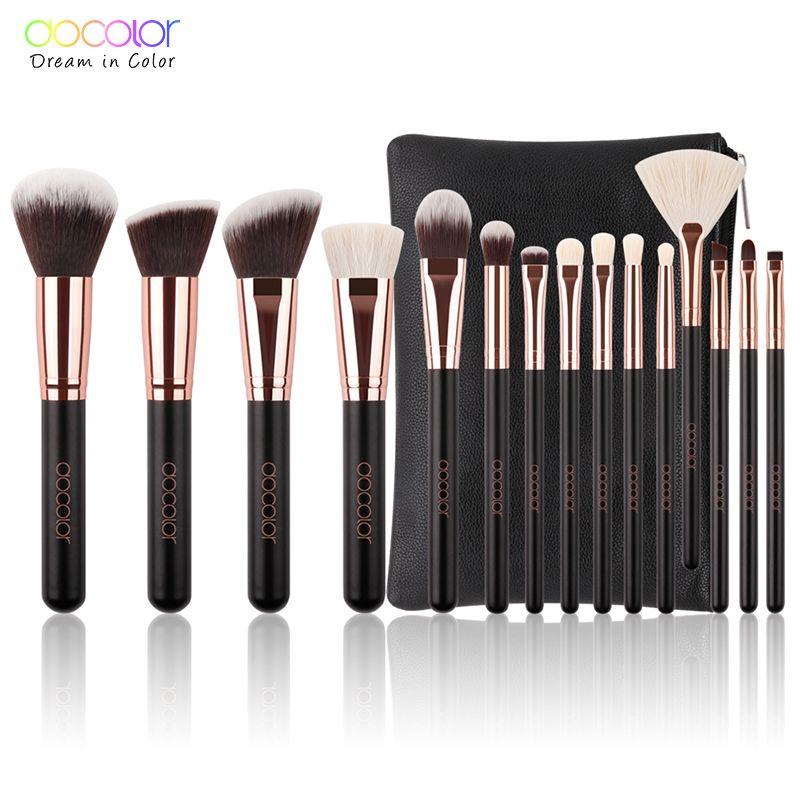 Docolor 15 pcs pinceau de Maquillage de Haute Qualité Doux Cheveux Synthétiques et Nature BristlesProfessional Maquillage Artiste Brosse Outil Kit