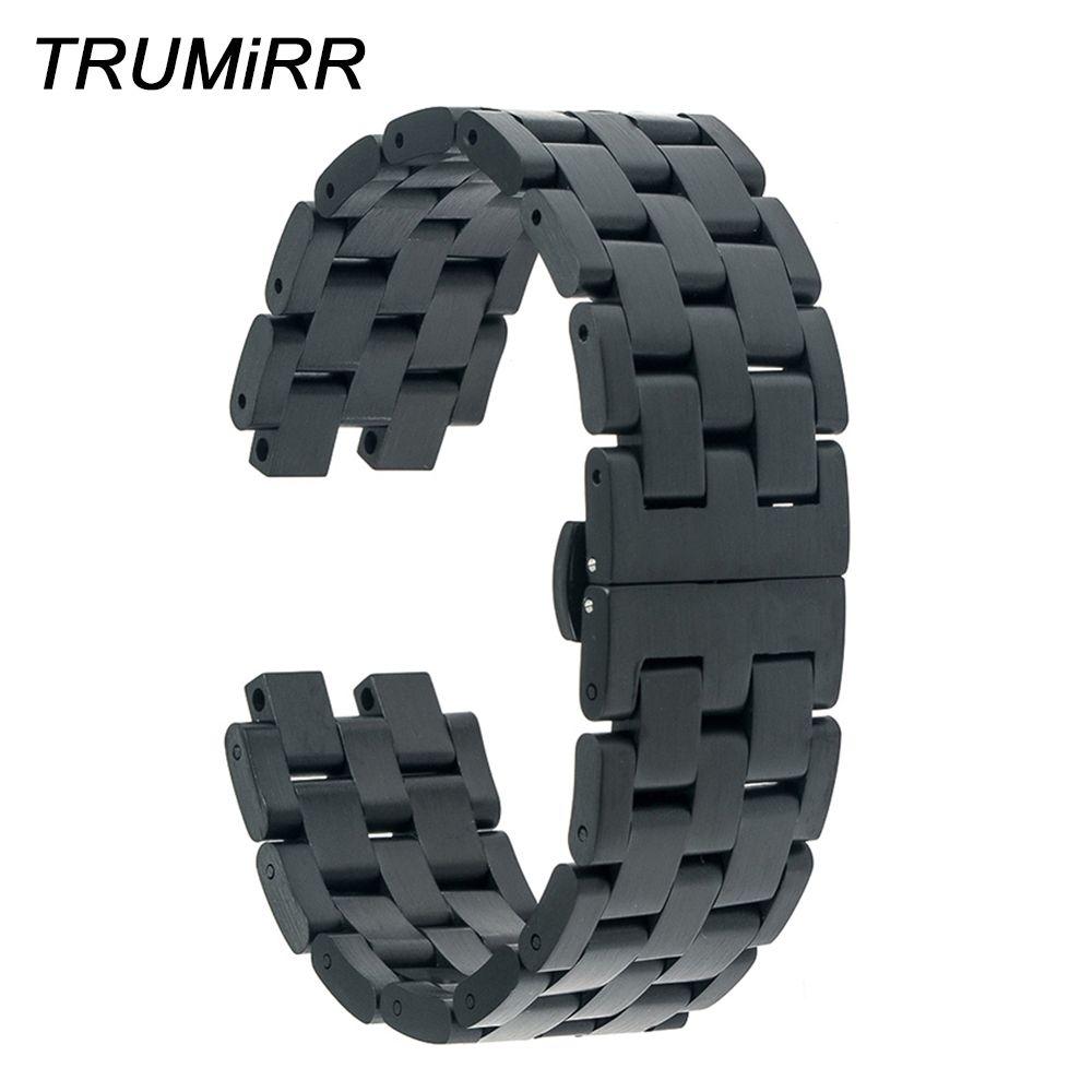 22mm Bracelet En Acier Inoxydable pour Pebble Steel 2 Montre Bande Papillon Boucle Bracelet Bracelet w/tous les Liens Amovible noir Argent