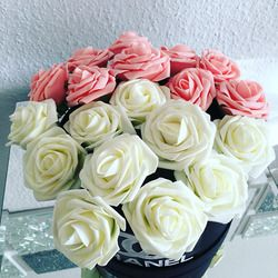 10 unidades 8 cm inicio flores decorativas 11 colores PE espuma artificial Rosa Flores para la boda decoración del Día de San Valentín
