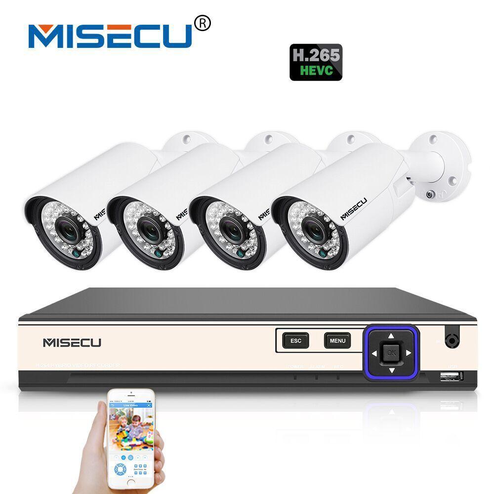 MISECU H.265 4.0MP 4K 48V 4 Channel POE Surveillance CCTV Camera System Hi3516D OV4689 P2P HDMI Metal 36pc IR H.265/H.264 Double