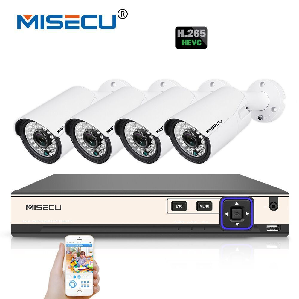 MISECU H.265 4.0MP 4K 48V 4 Channel POE Surveillance CCTV Camera System Hi3516D OV4689 P2P HDMI Metal 36pc IR H.265/H.264 Double