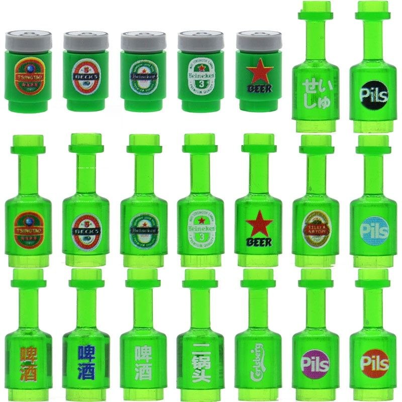 5pcs/lot Green Bottles Bricks Printed Beers Drinks MOC City Parts Building Blocks Gifts Toys for Children