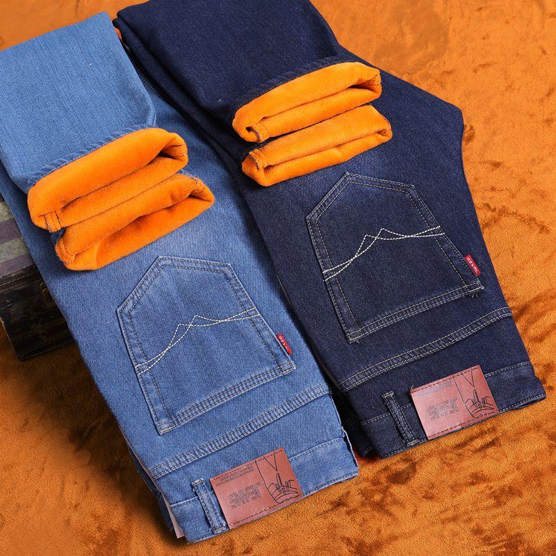 2017 New Listing Warm Fleece Winter To Keep Warm Thick  Jeans Darked Wash Jeans Mens Blue Black Cotton Denim