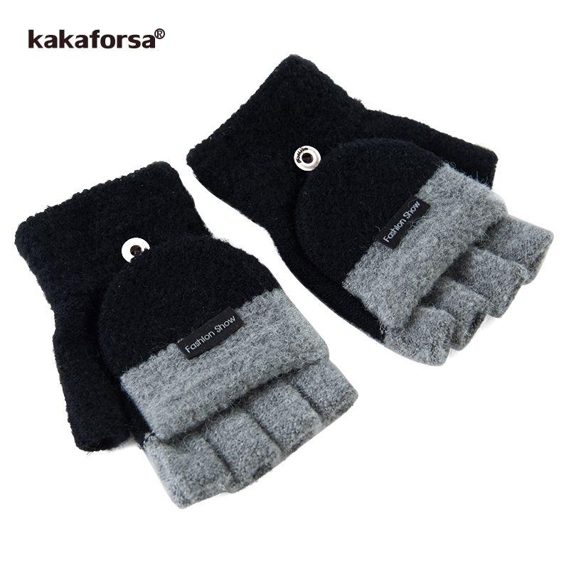 Kakaforsa Fingerless Gloves Men Winter Knitted Warm Mittens Mitaines Fashion High Quality Patchwork Black Glove Luvas