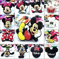 Nueva llegada 1 unids Mickey Minnie alta imitación zapatos Amuletos, zapato hebillas Accesorios para Croc jibz embroma los regalos
