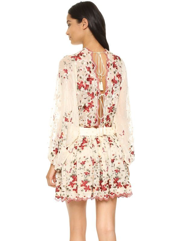Women Zim Sakura Cherry Blossom Lace-up Embroidery Silk Mini Dress Sexy Exposed Back Lacing Sakura Embroidery Dress