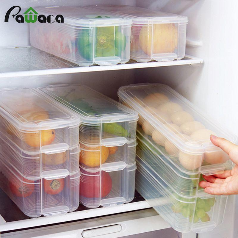 Bacs de rangement en plastique boîte de rangement pour réfrigérateur conteneurs de stockage de nourriture avec couvercle pour cuisine réfrigérateur armoire congélateur organisateur de bureau