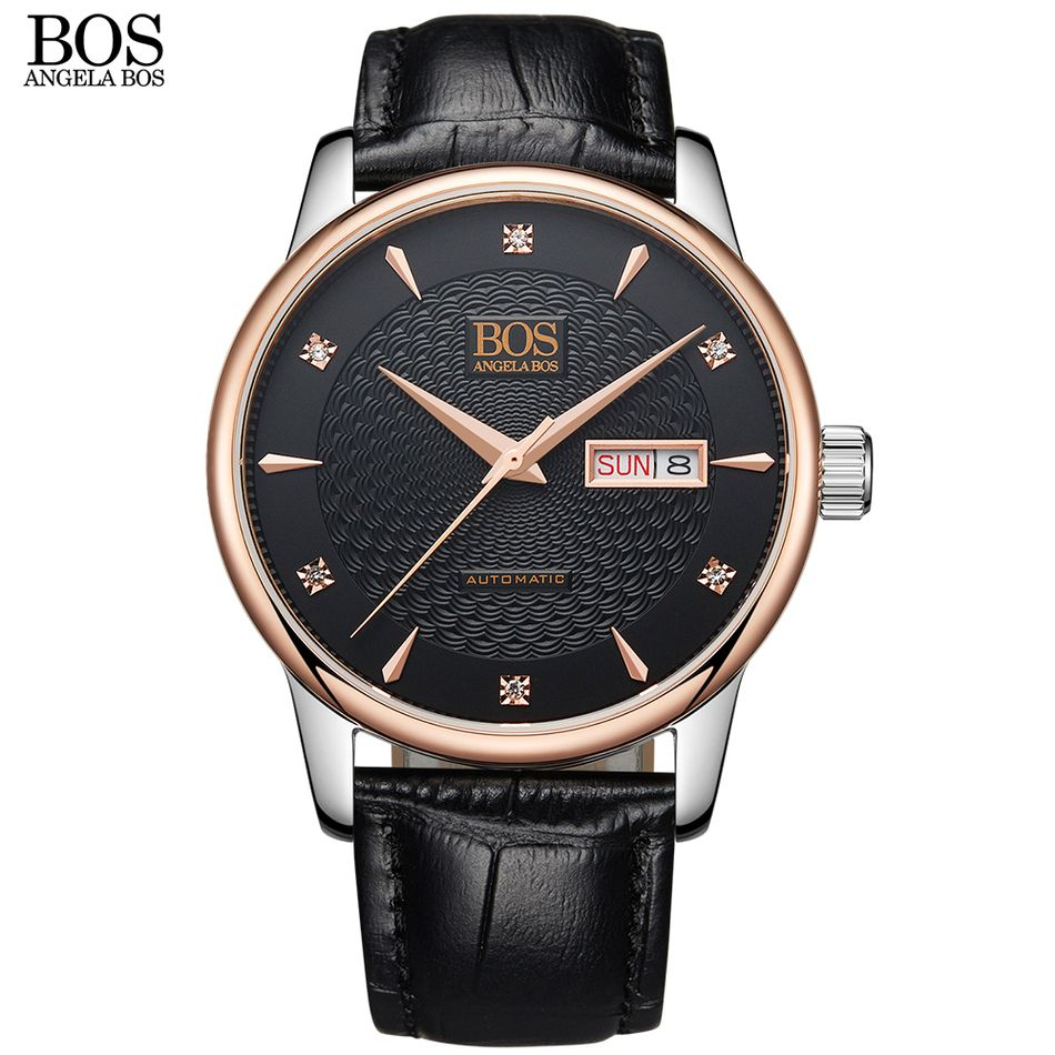 ANGELA BOS Business mechanical watches for men waterproof automatic watch brands Sapphire Black Wavy Pattern Leather rose gold