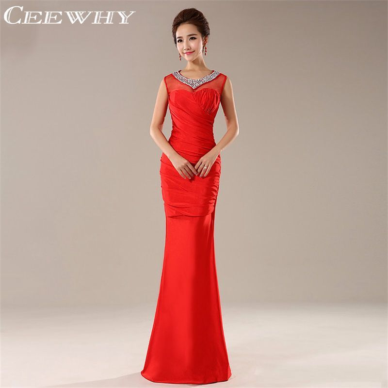 CEEWHY Red Crystal Evening Dresses 2017 Trumpet/Mermaid Evening Gown Ruched Long Prom Dress Abendkleider Robe De Soiree Slim Fit