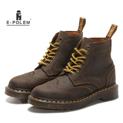 Brogue Genuine Leather Casual Shoes Autumn Winter Martin Boots Couples Ankle Boots British Retro Handmade Neutral Martin Boots