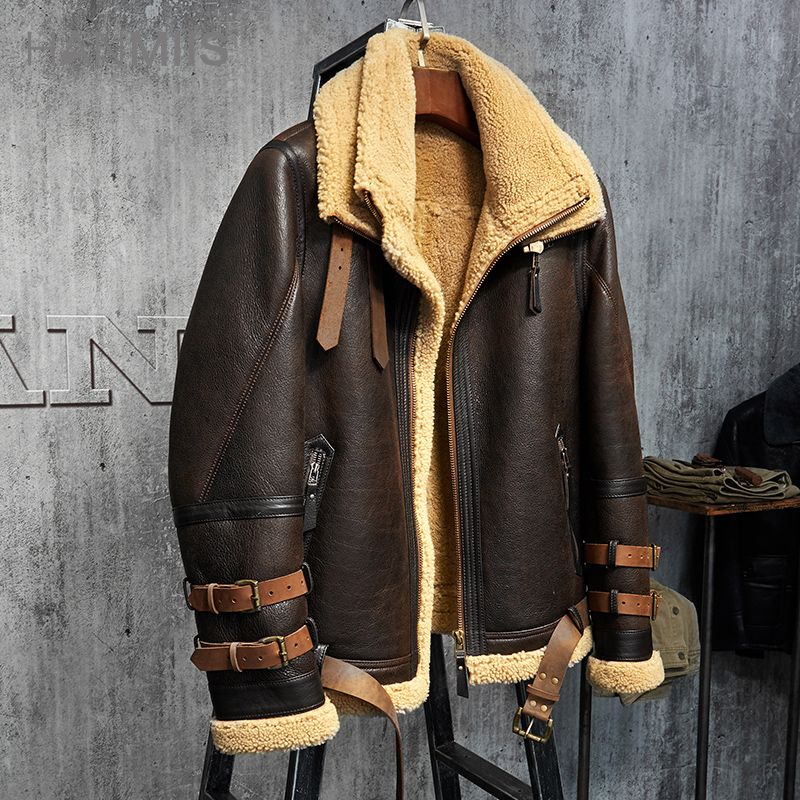 Men's Shearling Jacket B3 Flight Jacket Imported Wool From Australia Short Leather Jacket Mans Sheepskin Aviator Fur Coat