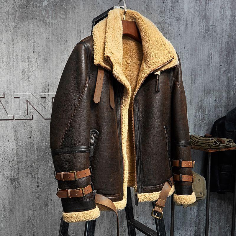 Herren Lammfell Jacke B3 Flug Jacke Importierte Wolle Aus Australien Kurze Leder Jacke Mans Schaffell Aviator Pelz Mantel
