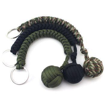 Porte-clés En Plein Air auto-défense domaine d'urgence survie kit clé anneaux sept-core parapluie à la main-tissé porte-clés avec bille en acier
