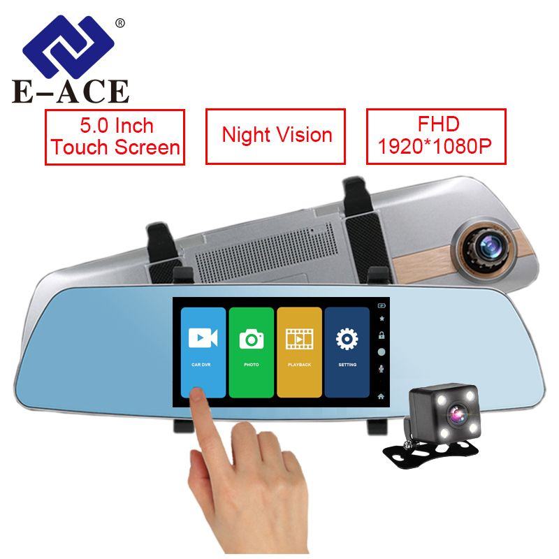 E-ACE Car Dvr 5 Inch Touch Screen Rearview Mirror Super Night Vision 1080P Dash Camera Dual Lens Video Recorder Parking Monitor