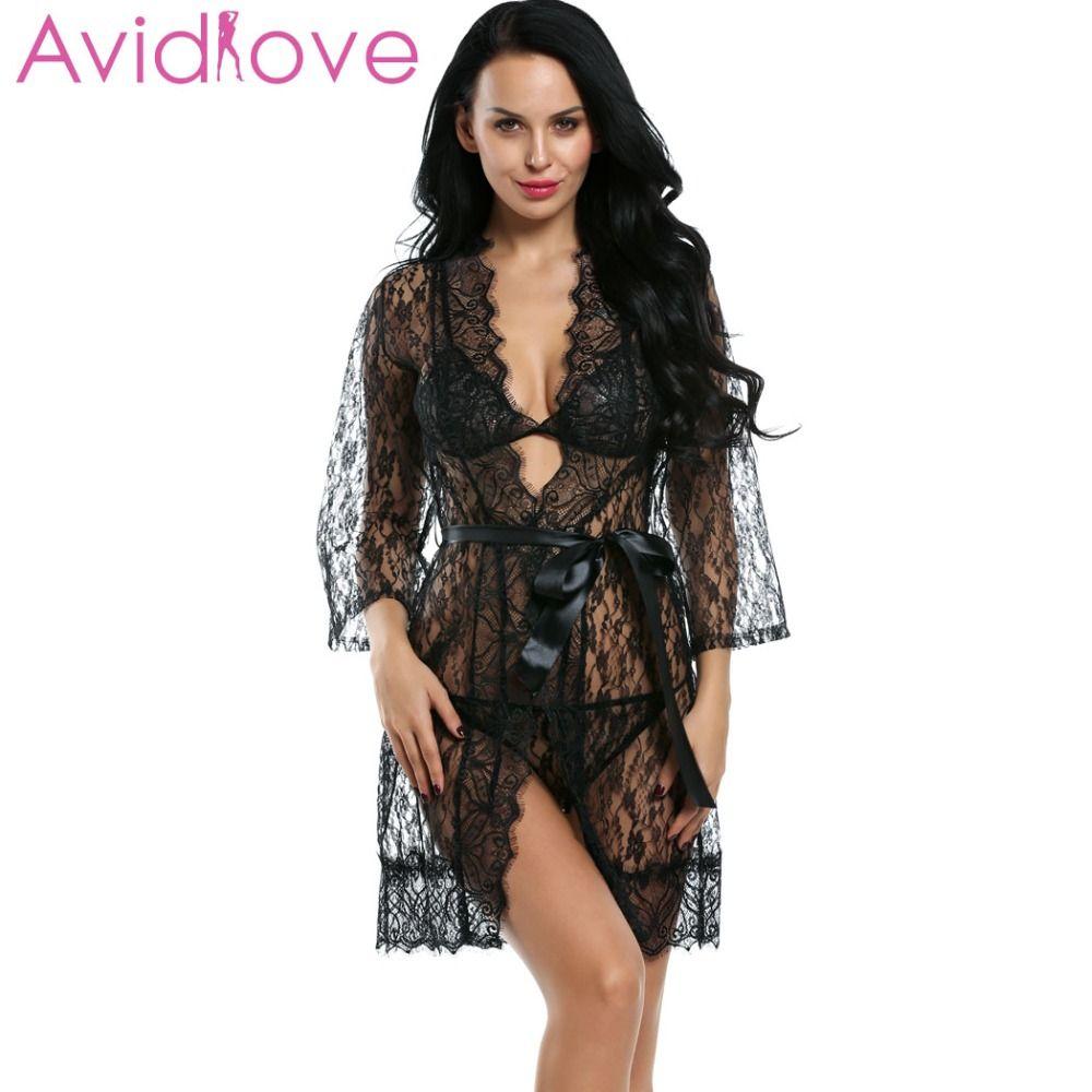Avidlove Femmes Sexy Lingerie Érotique Chaude Nuit 4 pcs Dentelle Robe Sexy Sans Doublure Soutien-Gorge G-string De Nuit + Ceinture Plus La Taille lingerie