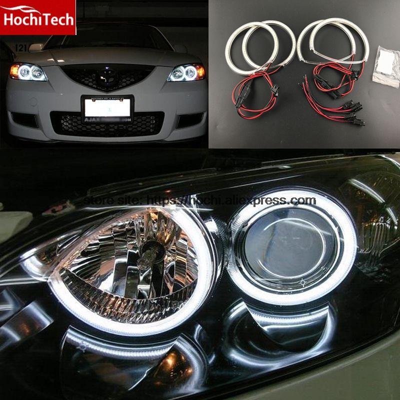 HochiTech Ultra bright SMD white LED angel eyes 2000LM 12V halo ring kit daytime running light DRL for Mazda 3 mazda3 2002-2007