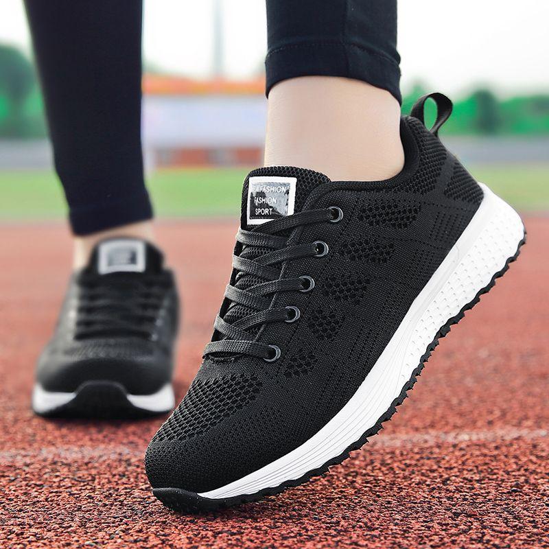Factory Direct Women Casual Shoes Fashion Breathable Walking Mesh Flat Shoes Sneakers Women 2019 Gym Vulcanized Tenis Feminino
