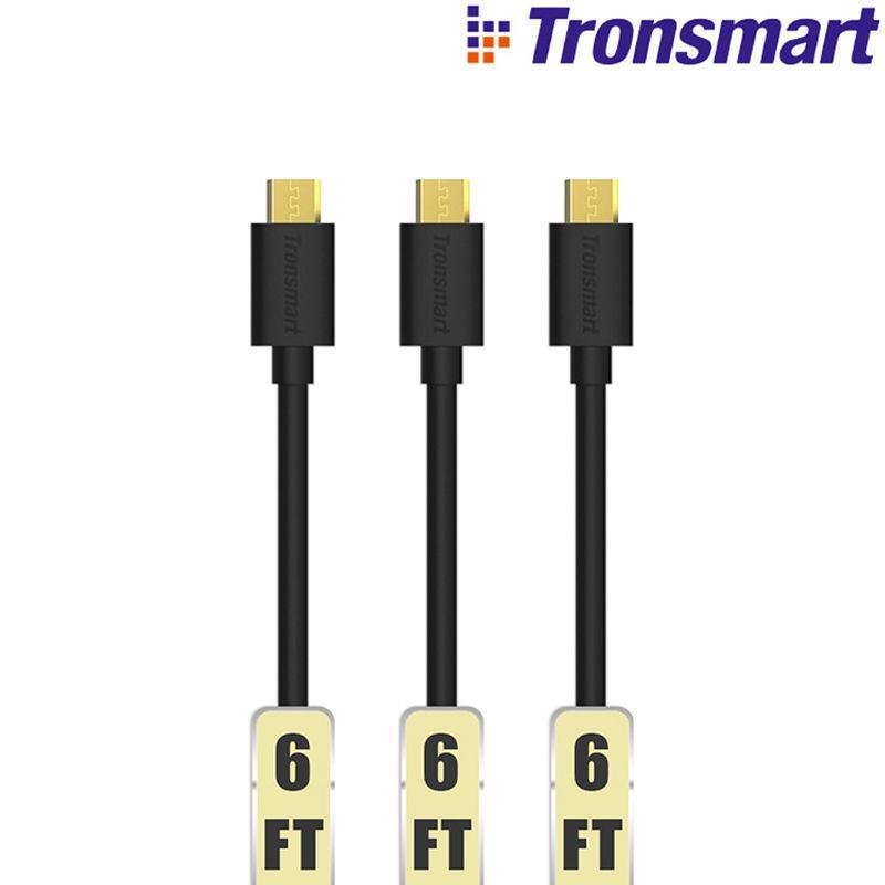 [3 Pack] Tronsmart MUPP2 6ft * 3 USB 2.0 Plaqué Or Mâle à Micro USB Câble 1.8 m * 3 avec Or connecteur compatible pour xiaomi etc