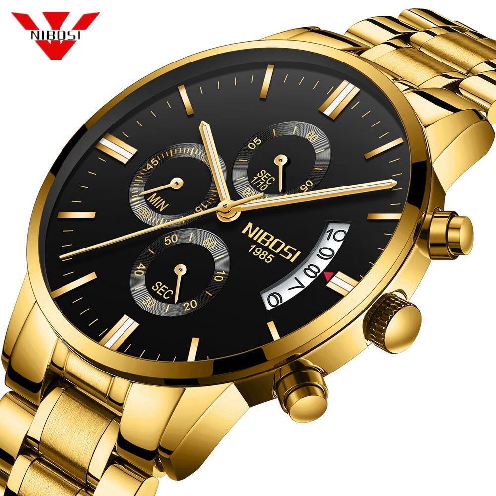 Men Watch NIBOSI Chronograph Sport Mens Watches Top Brand Luxury Waterproof Quartz Watch Men Gold Clock Men Relogio Masculino