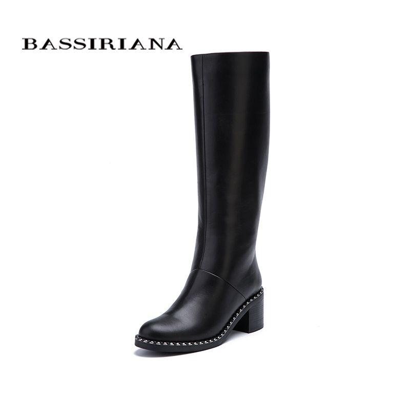 BASSIRIANA Nuevo 2017 Botas altas de Invierno zapatos de mujer zapatos de tacón alto del dedo del pie redondo cremallera cuero genuino y gamuza negro 35-40 tamaño