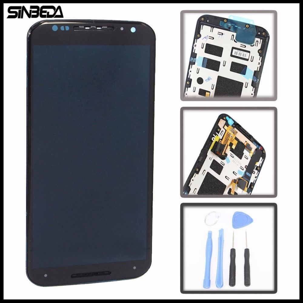Sinbeda Brand new For Motorola MOTO X2 XT1092 XT1096 XT1097 Black LCD Display With Touch Screen Digitizer Assembly With Frame