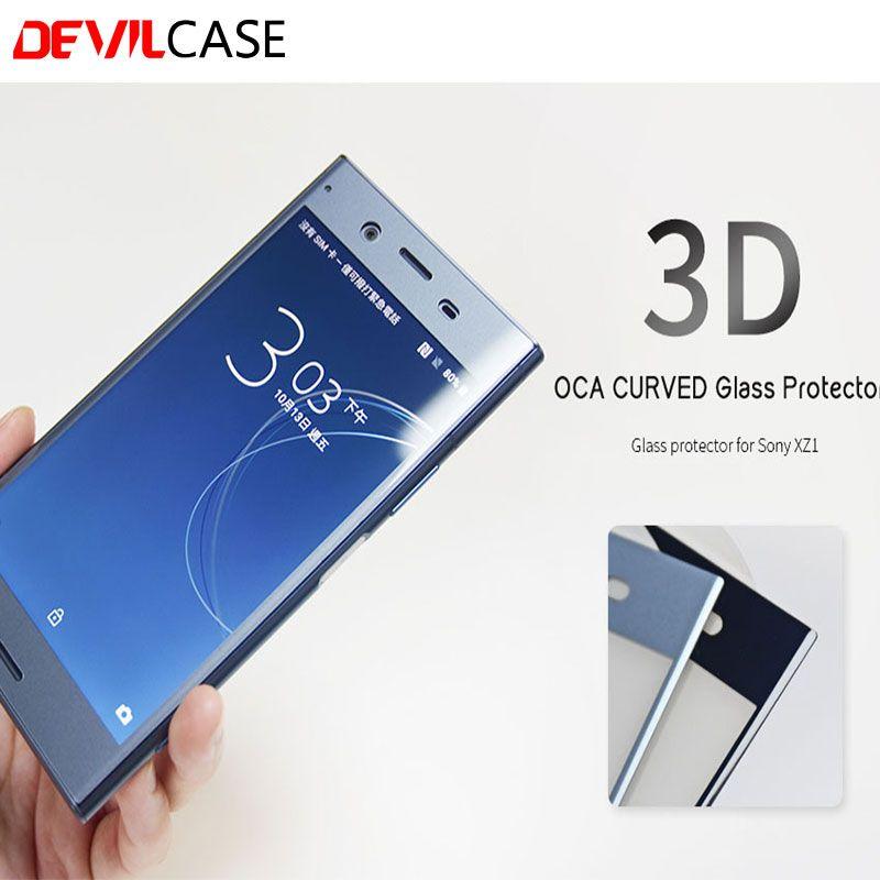 DEVILCASE BACK-SCHIRM-GLASSCHUTZ OCA Handwerk 3D Gebogenem Glas Schutz Für SONY XPERIA XZ1 5,2 inch Displayschutzfolie HD Gehärtetem Glas Film