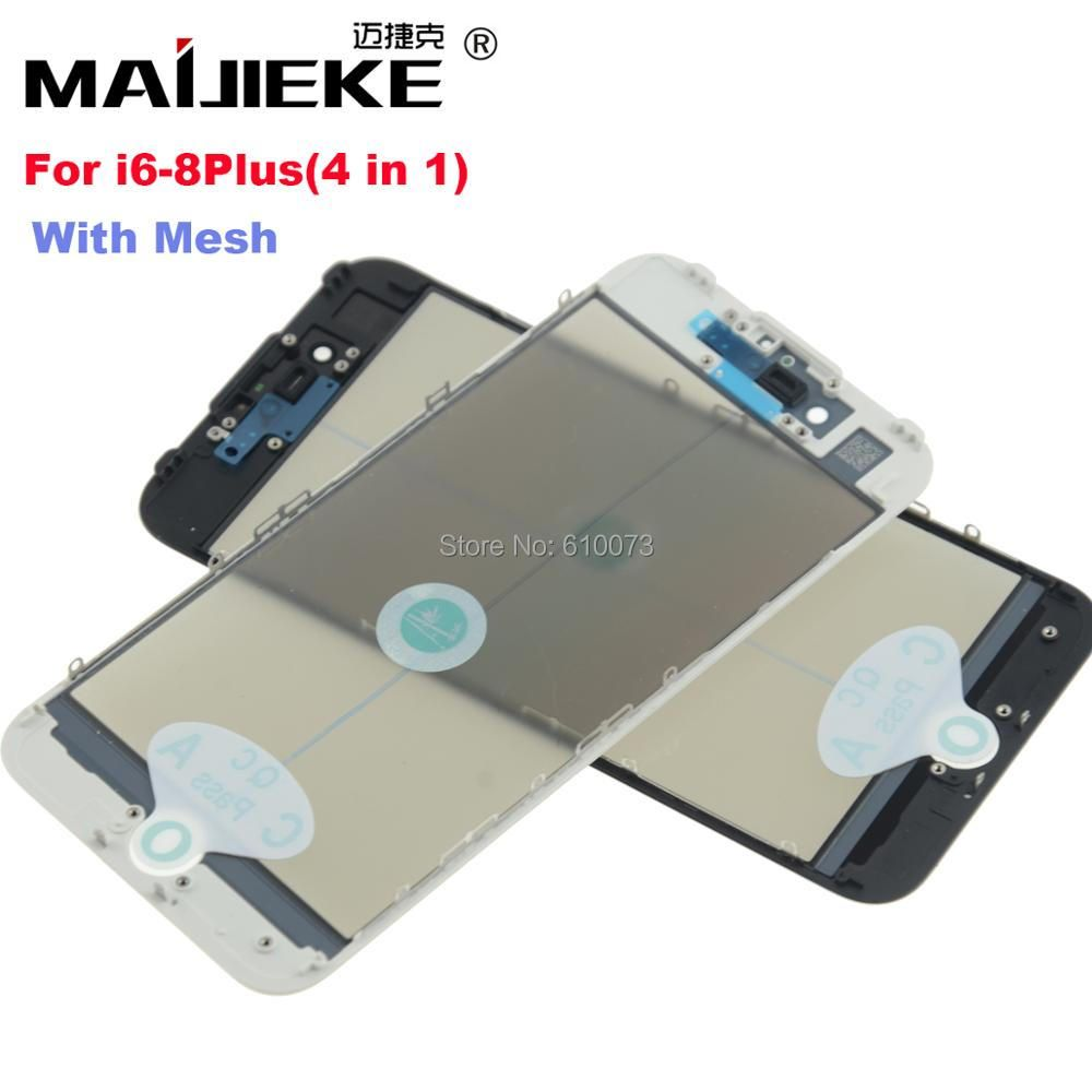 20PCS MAIJIEKE 4in1 Cold Press For iPhone 8 7 6 6s plus Front Screen Outer Glass+Frame OCA+Polarizer Screen Ear mesh Replacement