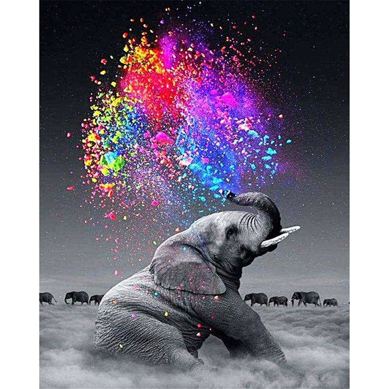 Peinture par numéros bricolage livraison directe 40x50 50x65cm nuage éléphant Cigarettes Animal toile mariage décoration Art photo cadeau