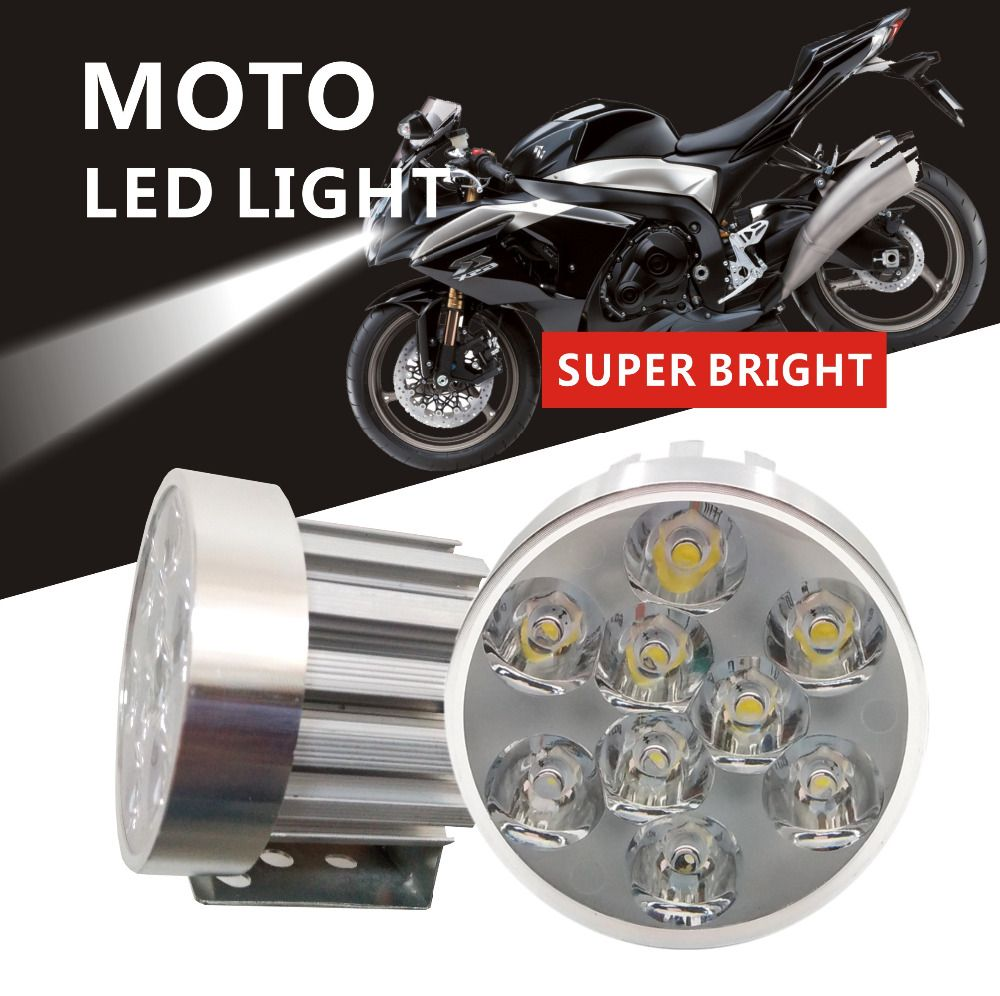 2pices 9 Chips Motorcycle LED Headlight Mortar Waterproof AUto Driving Spot Head Lamp Fog Light farol Moto Accessories 12V 6000K