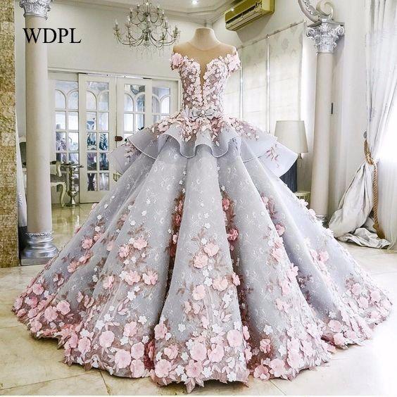 Saudi Arabisch Abendkleid Wunderschöne Robe De Soiree Floral Abendkleider Sleeve Modest Formal Gown 3D Blume Lange Abendkleider