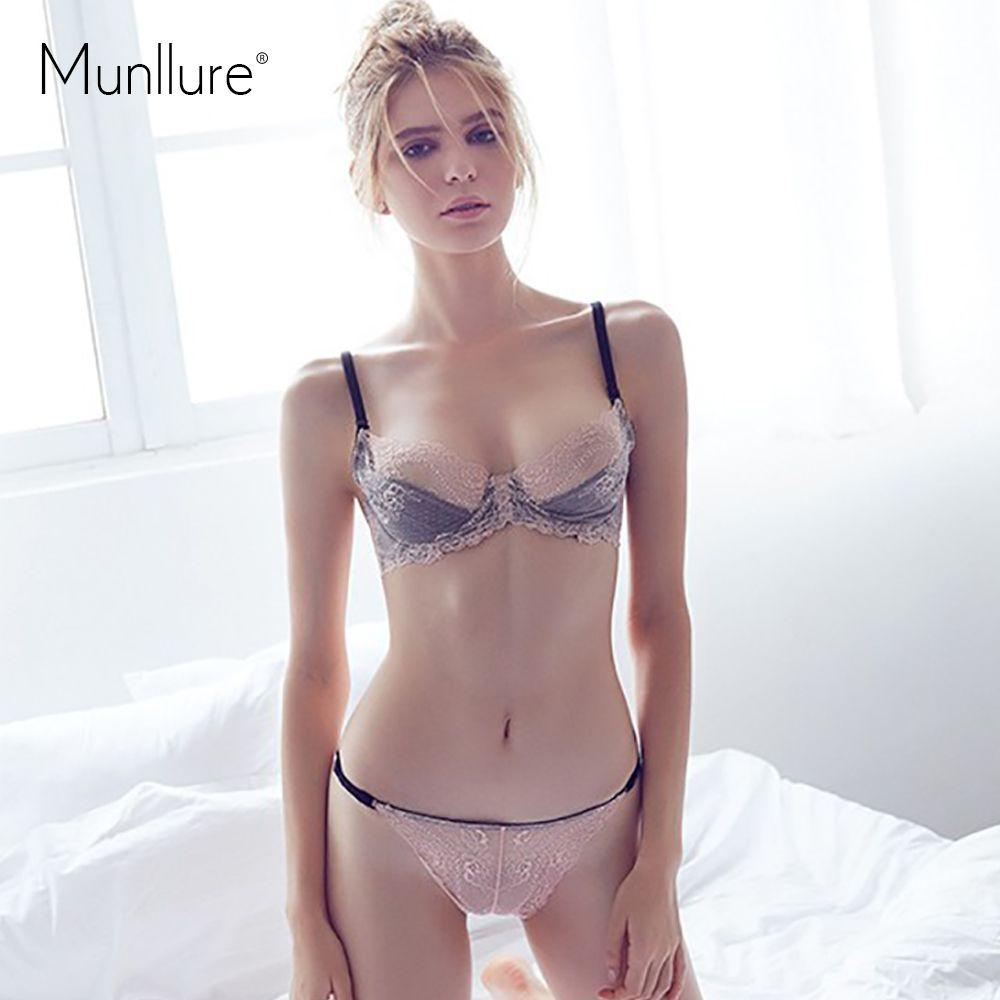 Munllure sous-vêtements sexy dentelle broderie soutien-gorge ultra-mince découpe soutien-gorge ensemble gaze mince femmes sous-vêtements soutien-gorge ensemble