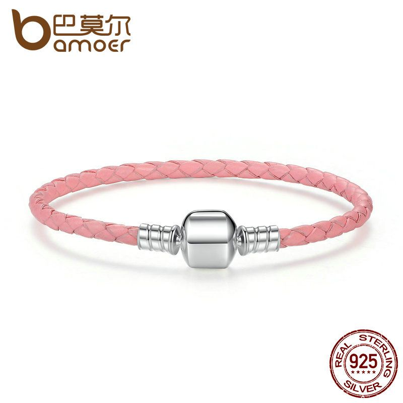 BAMOER Original 925 Sterling Silver Wholesale 4 Color Genuine Leather Snake Chain Bracelets for Women Fine Jewelry PAS908