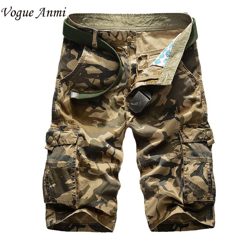 Nouveau 2016 marque hommes de casual camouflage lâche cargo shorts hommes grande taille multi-poches militaire pantalon court salopette 30-40 42 44