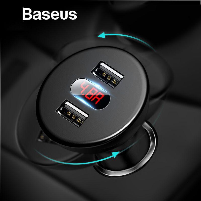 Baseus Auto Ladegerät Digitale Led-anzeige Handy Ladegerät Dual USB Auto Telefon Ladegerät für iPhone Samsung Tablet Reise Adapter