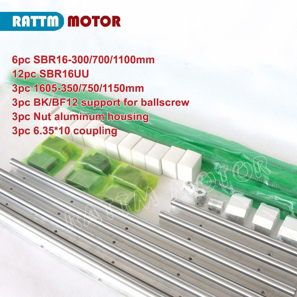 EU/RU Delivery! 6PCS SBR16 Line guide 300/700/1100mm&3set Ballscrew SFU RM1605-350/750/1150mm with Nut & 3set BK/B12 & Coupling