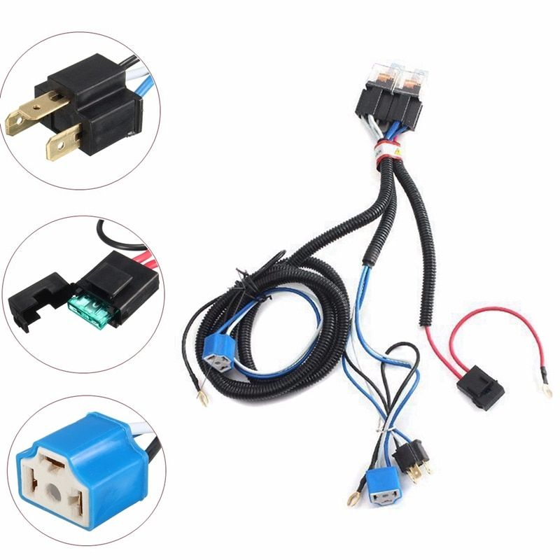 Hot Selling 7 Inch H4 2 Headlamp Relay Wiring Relay Harness Car Light Bulb Socket Plug For Car Auto Headlight