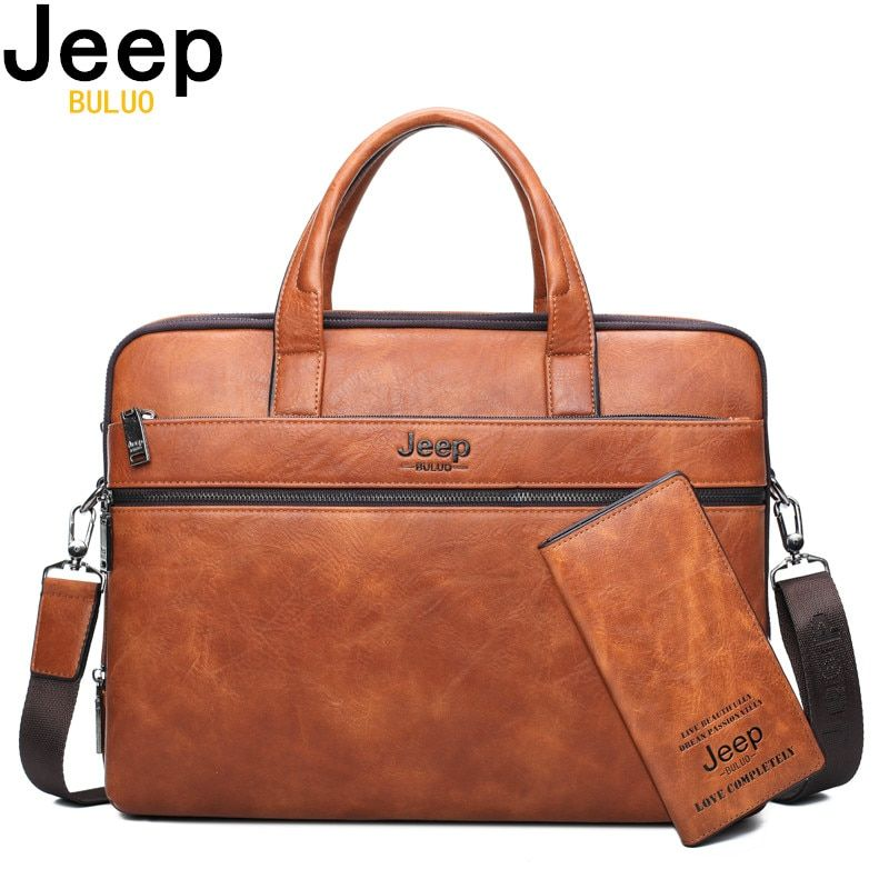 JEEP BULUO hommes porte-documents sacs pour 14 ordinateur portable homme sac d'affaires 2 pièces ensemble sacs à main de haute qualité en cuir bureau sacs à bandoulière fourre-tout