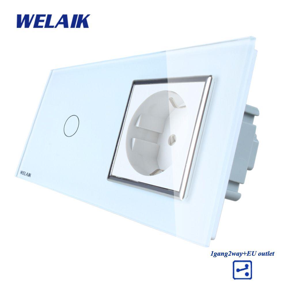 WELAIK Brand 2Frame Crystal Glass Panel Wall Switch EU Touch Switch Screen EU Wall Socket 1gang2way AC110~250V A29128ECW/B