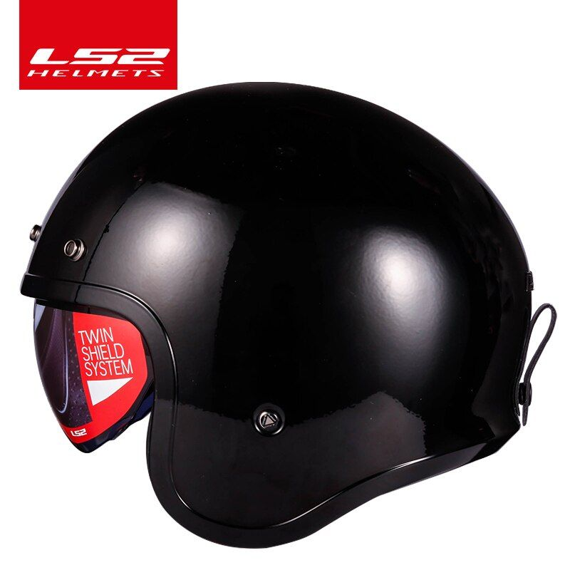 LS2 Spitfire motorcycle Vintage helmet Open face fashion design retro jet half helmet LS2 OF599 casque moto with bubble buckles