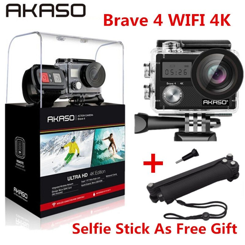 AKASO Brave 4 4K 20MP Wifi Action Camera Ultra HD EIS 30m Underwater Waterproof Camera Remote Sports Helmet Camcorder Extreme
