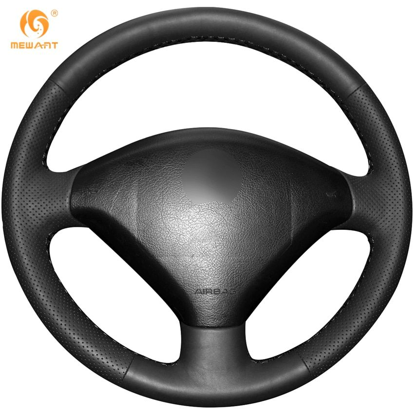 MEWANT Black Artificial Leather Car Steering Wheel Cover for Peugeot 307