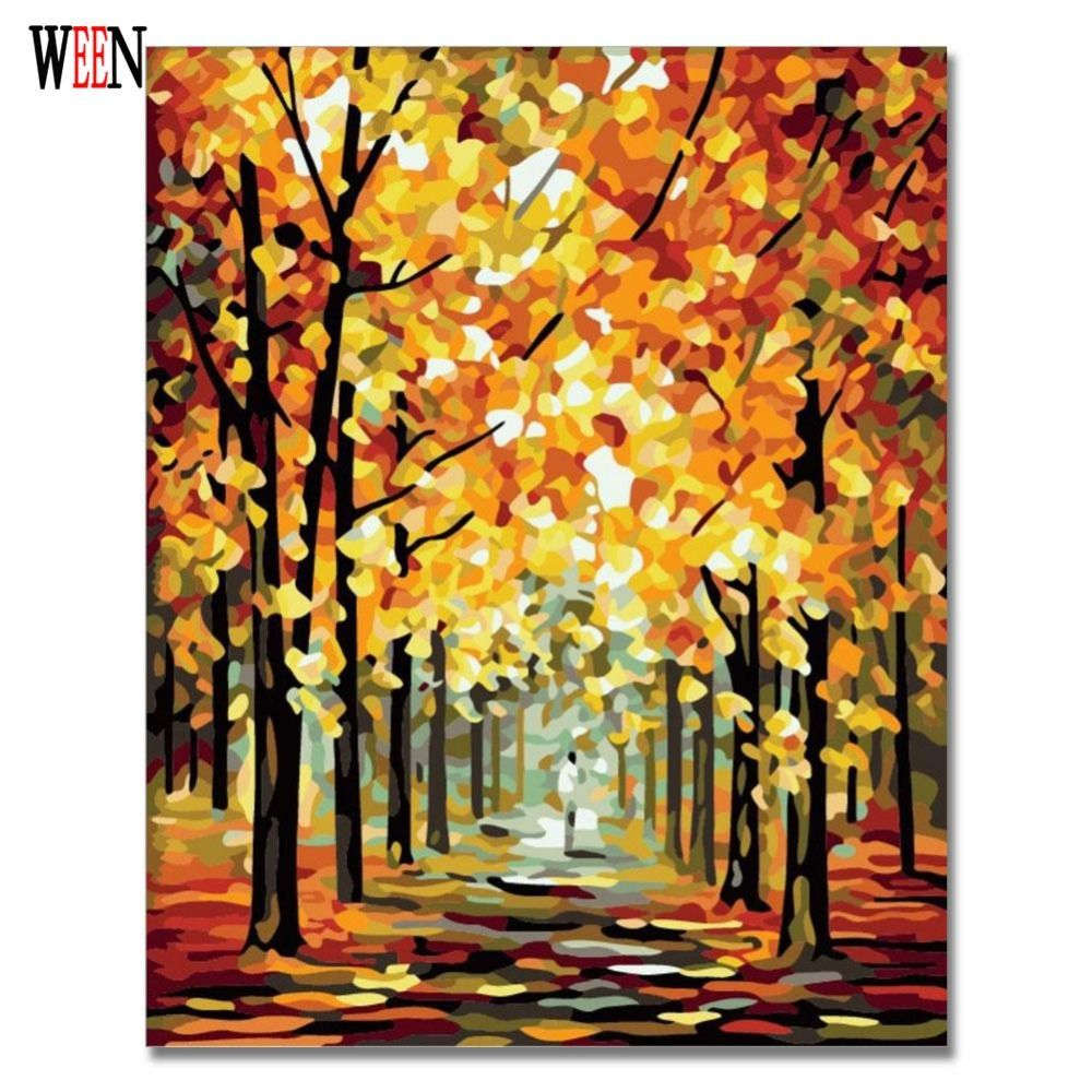 WEEN Tree Street Painting Picture By Number DIY Handpainted Wall Arcylic Paint Landscape Gift 40X50 cm Coloring By Number Atrs