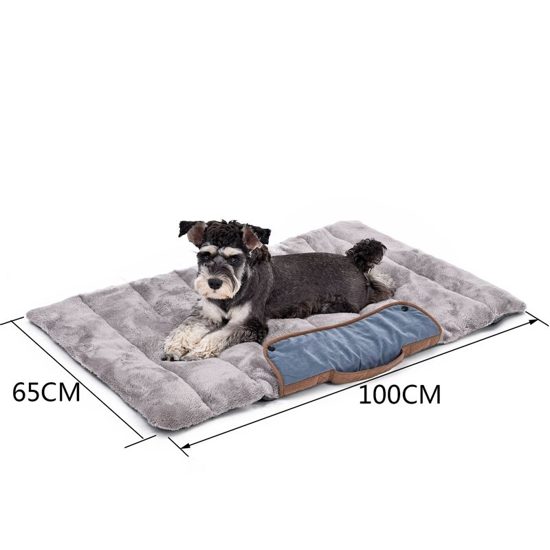 PAWZRoad Dog Beds Foldable Dog Cat Mats Soft Pet Cushion Convenience Carry Pet Puppy Big Bed Warm Thick Cat Bed Travel Essential