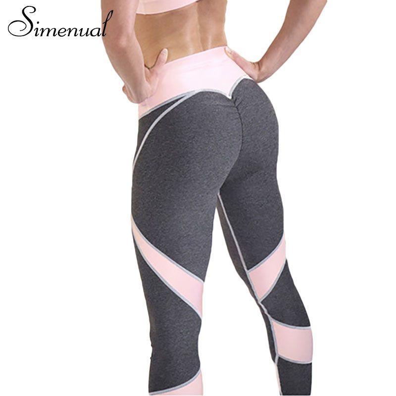 Simenual 2017 Hot sale patchwork heart hip leggings sportswear for women bodybuilding grey slim sexy legging female pants sale