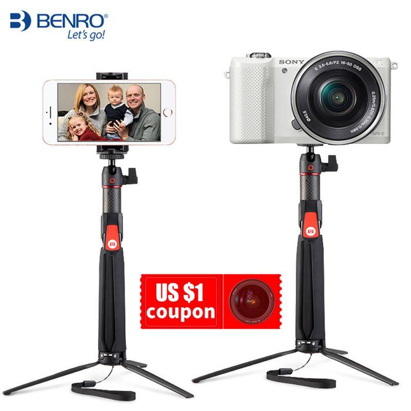 BENRO SC1 carbon fiber mini Tripod monopod portable selfie stick Bluetooth for Smartphone Actioncamera Gopro Android xiaomi Sony