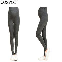 COSPOT Femme Enceinte Leggings Plaine Couleur Noir Gris Pantalon pour La Grossesse Femmes Taille Abdominale Printemps Coton Pantalon 2017 30F
