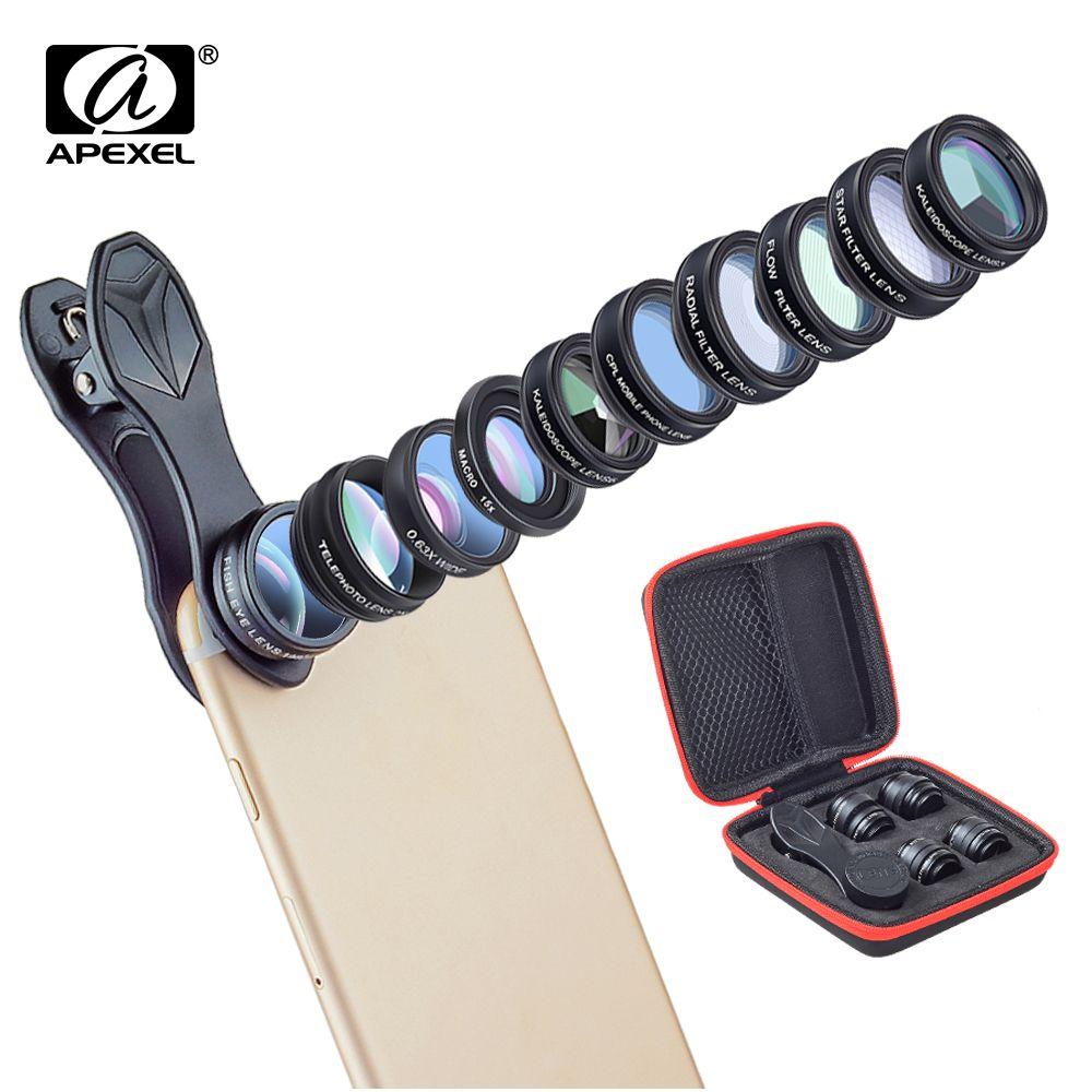 APEXEL 10in1 Kit d'objectif de caméra de téléphone Fisheye grand Angle télescope Macro objectifs mobiles pour iPhone Samsung Redmi 7 Huawei téléphone portable