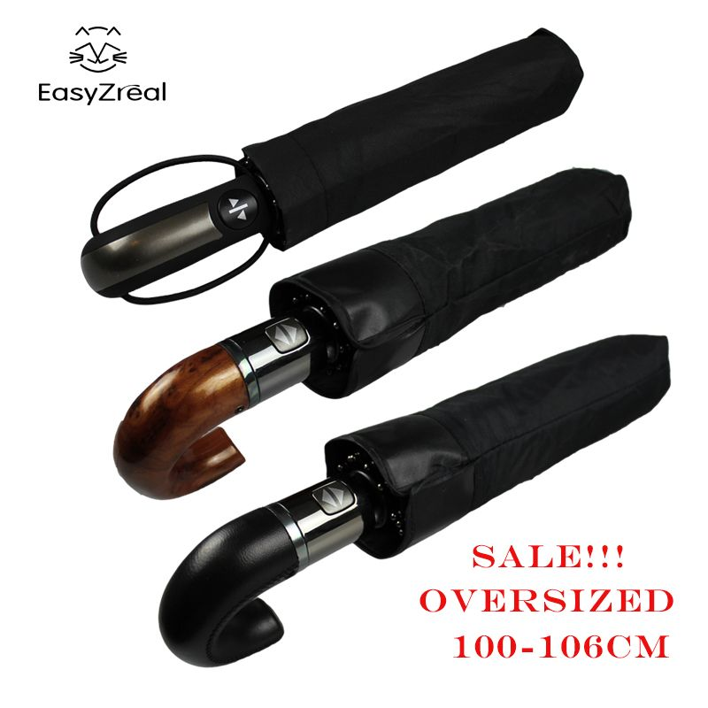 EasyZreal Leather Curved Handle men Automatic business Umbrella Male <font><b>Windproof</b></font> Black Big auto Umbrellas parasol Rain paraguas